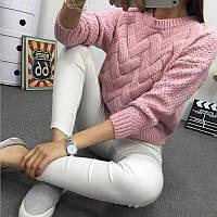 Женский теплый вязанный свитер (расцветки), фото 1