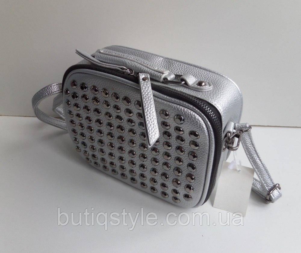 Модная женская маленькая сумка заклепки серебро и черная
