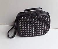 Модная женская маленькая сумка заклепки черная и серебро