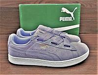 Детские, подростковые сиреневого цвета кроссовки Puma Suede Classic