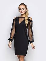 Красивое женское черное платье с открытыми плечами трикотаж+сетка р.50