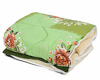 """Теплое одеяло двуспального размера из овечьей шерсти """"Лери Макс"""" - зеленого цвета"""
