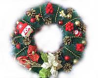 Новогодний Рождественский Венок Декоративный Хвойный Веночек на Двери из Хвои 45 см