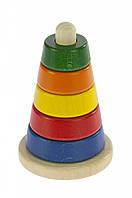 Пирамидка деревянная коническая разноцветная