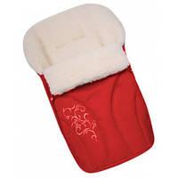 Зимний конверт на овчине с вышивкой Womar № 25 красный