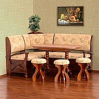 "Кухонный уголок ""Сиеста"" 172х132 см. Мягкий уголок+Стол+3 табуретки, Ткань и цвет на выбор"