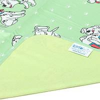 Двусторонняя непромокаемая пеленка Эко Пупс Бязь Premium зеленая Собачки