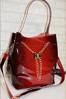 Стильная женская сумка золото и красная