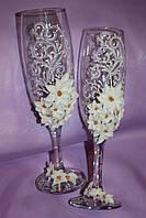 Свадебные бокалы белые цветы
