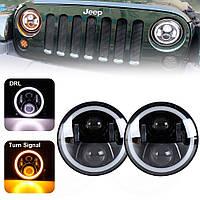 Светодиодные фары 7 дюймов с ангельскими глазками и поворотами (2101, Нива, Jeep, Mercedes, Toyota)