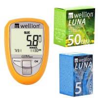 Акционный набор Глюкометр Wellion Luna Duo+тест-полоски №50 шт. (глюкоза)+тест-полоски №5 (холестерин)