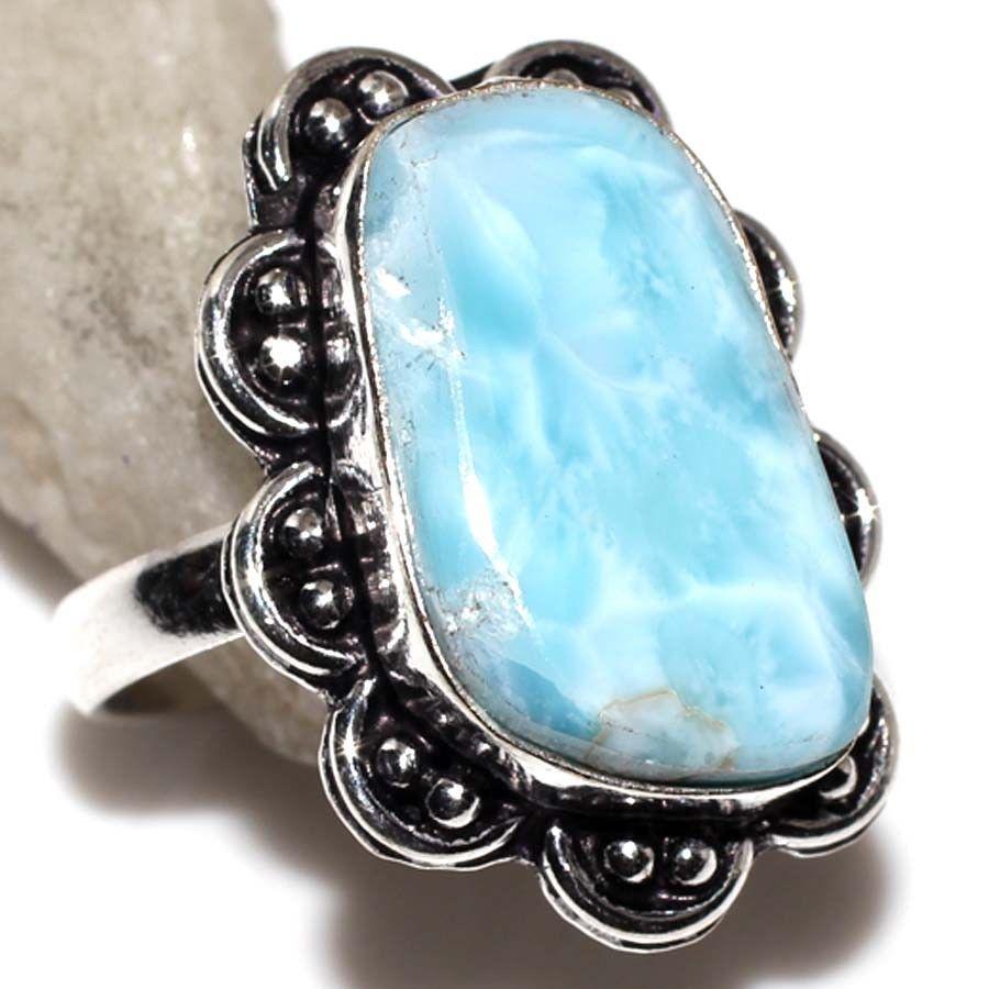 Ажурное кольцо с ларимаром кольцо с красивым камнем ларимар (Доминикана).18,5-19 размер.