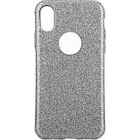 Чехол-накладка TOTO 2 in1 tpu + glitter paper case iPhone X Silver