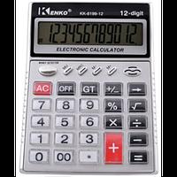 Калькулятор настольный большой kenko 8199-12, прозрачные кнопки, питание от батареек, 12-разрядный дисплей, фото 1