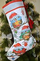 """Пошитий новорічний чобіток для вишивання """"Новорічні сови"""" 31х49 см"""