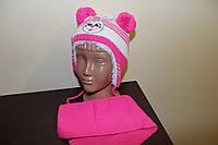 Детская зимняя шапка на меху с шарфом, фото 1
