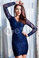 Платье гипюр синее короткое