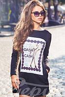 Трикотажное платье-туника с накатом и карманами