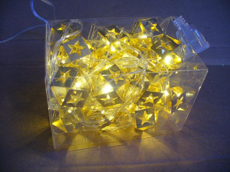Новорічна гірлянда на 30 лампочок , зірочки , золота
