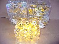 Новогодняя гирлянда на 30  лампочек , квадраты , золотая