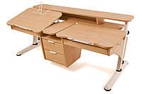 Детская парта растишка стол трансформер Понди Эргономик с тумбой для 2 детей из ДСП
