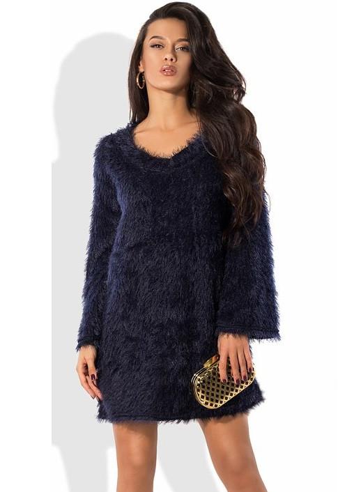 Синее платье-трапеция из вязки травка с поясом