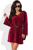 Бордовое платье-трапеция из вязки травка с поясом