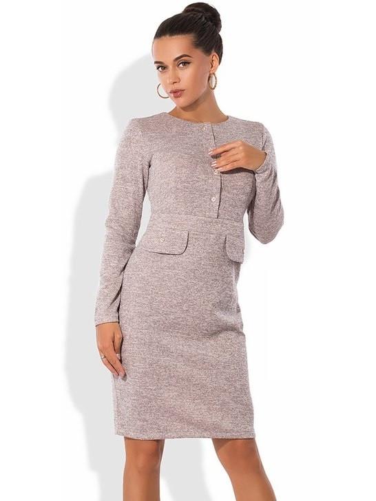 Платье из ангоры с люрексом и завышенной талией бежевое