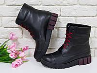 Ботинки в черной коже на шнурках на устойчивой подошве черного и бордового цвета, Зимняя коллекция 2017, Б-16081