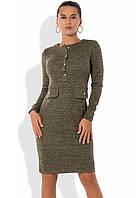 Платье из ангоры с люрексом и завышенной талией зеленое