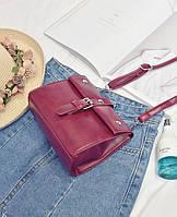 Маленькая женская сумка через плече/на плече бордовая модель 2017 года