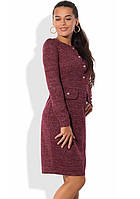 Платье из ангоры с люрексом и завышенной талией бордовое