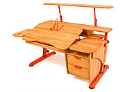 Детская парта растишка стол трансформер Pondi / Понди Эргономик с тумбой Эко из натурального дерева Бук