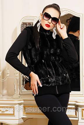 Женский меховой жилет довяз,черного цвета под норку, фото 2