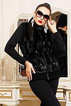 Женский меховой жилет довяз,черного цвета под норку