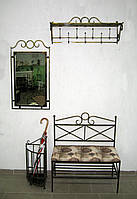 Комплект кованой мебели. Прихожая кованая №6: зеркало, вешалка, диван , фото 1