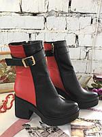Женские зимние ботинки  из натуральной кожи на овчине