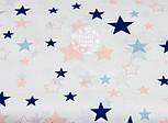"""Лоскут ткани №1029а """"Звёздный карнавал"""" с синими и розовыми звёздами на белом фоне, фото 2"""