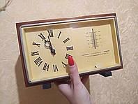 Антикварные настольные часы «МАЯК» с барометром и термометром, СССР механические
