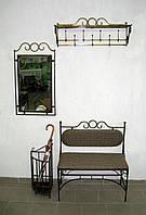 Комплект кованой мебели. Прихожая кованая №3: зеркало, вешалка, диван , фото 1
