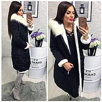 Женское зимнее теплое пальто с мехом на синтепоне 3 цвета