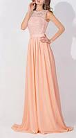Вечернее выпускное платье в пол нежно персикового цвета