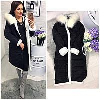 Женское зимнее пальто на ситепоне с мехом очень теплое 3 цвета