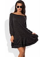 Платье-трапеция из ангоры-софт с двойной оборкой