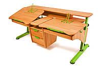 Детская парта растишка стол трансформер Понди Эргономик с тумбой для 2 детей из натурального дерева Бук