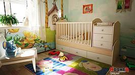 Детская кровать трансформер Аванта DREAM (детская кровать + кровать для новорожденных + столик + ящик)
