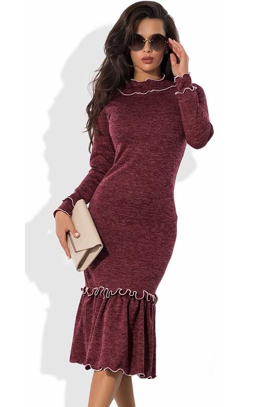Бордовое платье-футляр миди из ангоры софт