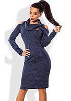 Синее платье из ангоры меланж с вырезами на плечах