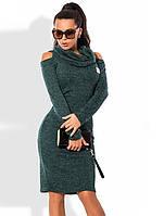 Бутылочное платье из ангоры меланж с вырезами на плечах