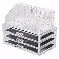Пластиковый органайзер / бокс двухуровневый для косметики и аксессуаров